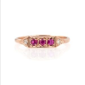 Rose Gold Pink Tourmaline Ring w CZ Accents
